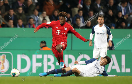 Stock Photo of Bayern's Kingsley Coman (L) in action against Bochum's Chung Yong Lee (R) during the German DFB Cup second round soccer match between VfL Bochum and FC Bayern Muenchen in Bochum, Germany, 29 October 2019.