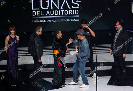 """Stock Picture of The Mexican band Cafe Tacuba accepts the award for Best """"Grupo de Rock en Español,"""" during the Lunas del Auditorio Nacional awards ceremony in Mexico City. The Lunas del Auditorio 2019 will be held"""