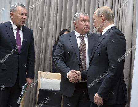 From left: Deputy Prime Minister of Russia Yuri Borisov, Chief Executive Officer, Chairman of the Board of Rosneft Igor Sechin, Russian President Vladimir Putin and Deputy Minister of Foreign Affairs of Russia Sergey Ryabkov before the meeting in the Novo-Ogaryovo residence in Moscow.