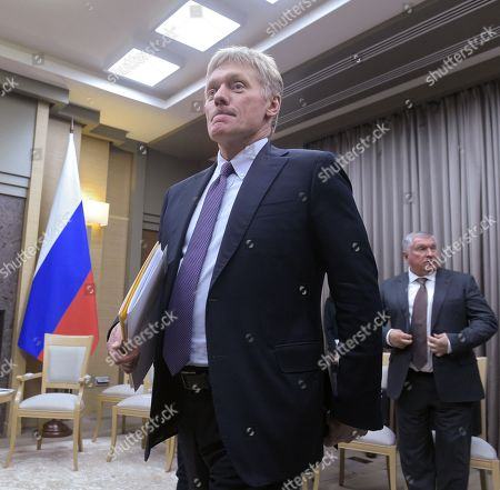 Presidential Press Secretary Dmitry Peskov (left) and Chief Executive Officer, Chairman of the Board of Rosneft Igor Sechin (right) before the meeting in the Novo-Ogaryovo residence in Moscow.