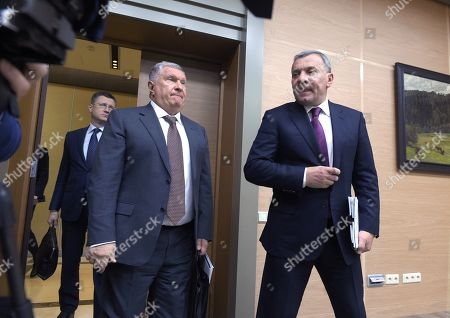 From left: Russian Minister of Energy Alexander Novak, Chief Executive Officer, Chairman of the Board of Rosneft Igor Sechin and Deputy Prime Minister of Russia Yuri Borisov before the meeting in the Novo-Ogaryovo residence in Moscow.