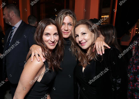 "NEW YORK, NEW YORK - OCTOBER 28: Amanda Anka, Jennifer Aniston and Kathy Najimy attend Apple's global premiere of ""The Morning Show"" at Josie Robertson Plaza and David Geffen Hall, Lincoln Center for the Performing Arts, New York City on October 28, 2019. ""The Morning Show"" debuts November 1 on Apple TV+, available on the Apple TV app."