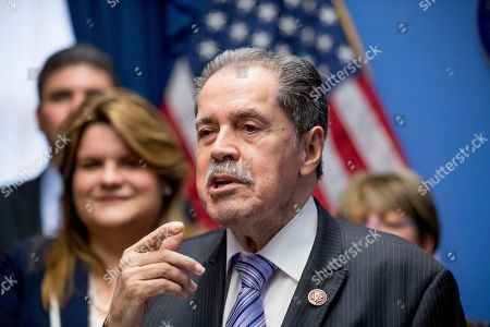 Jenniffer Gonzalez-Colon, Jose Serrano. Rep. Jose Serrano, D-N.Y., accompanied by Resident Commissioner Jenniffer Gonzalez-Colon, left, who represents Puerto Rico as a nonvoting member of Congress, speaks about Puerto Rico statehood during a news conference on Capitol Hill in Washington