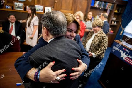 Jenniffer Gonzalez-Colon, Jose Serrano. Rep. Jose Serrano, D-N.Y., gets a hug from Resident Commissioner Jenniffer Gonzalez-Colon, who represents Puerto Rico as a nonvoting member of Congress, at a news conference on Puerto Rico statehood on Capitol Hill in Washington