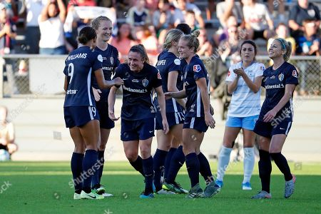 Stock Picture of North Carolina Courage's Heather O'Reilly (17), center, leaves the filed during the second half of the NWSL championship soccer game against the Chicago Red Stars in Cary, N.C