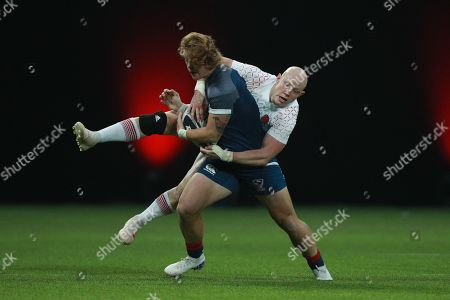 Heather Fisher of England tackles during Rugby X