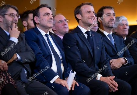 (L-R) Chief Rabbi of France Haim Korsia, President of the Central Jewish Consistory of Paris Joel Mergui, French President Emmanuel Macron, and French Interior Minister Christophe Castaner attend the official inauguration of the Centre Europeen Du Judaisme (European Judaism Center), in Paris, France, 29 October 2019.