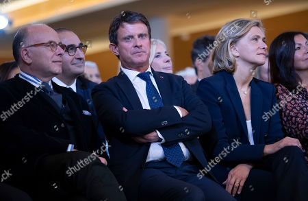 Former French Prime Minister Manuel Valls (C), former French Interior Minister Bernard Cazeneuve (L) and President of French Ile-de-France region Valerie Pecresse  (R) attend the official inauguration of the Centre Europeen Du Judaisme (European Judaism Center), in Paris, France, 29 October 2019.