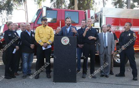 Councilmember Mike Bonin, LAFD Fire Chief Ralph, Senator Brian Dahle, Mayor Eric Garcetti and Governor Gavin Newsom, LAPD Assistant Chief Beatrice Girmala, Councilman Paul Koretz