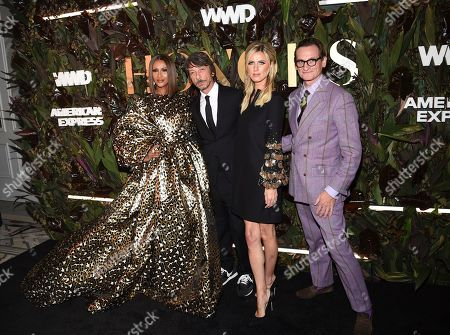 Iman, Pierpaolo Piccioli, Nicky Hilton Rothschild, Hamish Bowles. Model Iman, from left, honoree Pierpaolo Piccioli, socialite Nicky Hilton Rothschild and fashion editor Hamish Bowles pose together at the fourth annual Women's Wear Daily WWD Honors at the InterContinental Barclay, in New York