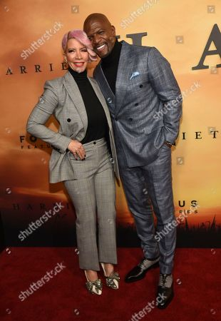 """Terry Crews, Rebecca King-Crews. Terry Crews, right, and Rebecca King-Crews arrive at the Los Angeles premiere of """"Harriet"""" at the Orpheum Theatre on"""