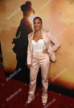 """Amanda Seales arrives at the Los Angeles premiere of """"Harriet"""" at the Orpheum Theatre on"""