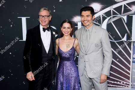 """Emilia Clarke, Henry Golding, Paul Feig. Paul Feig, left, Henry Golding and Emilia Clarke attend the premiere of """"Last Christmas"""" at AMC Lincoln Square, in New York"""