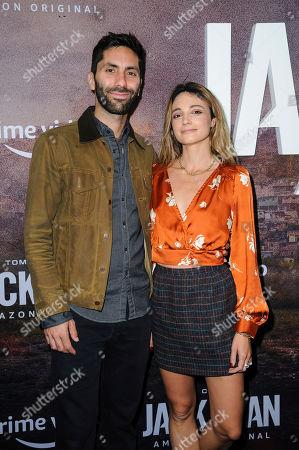 "Nev Schulman, Laura Perlongo. Nev Schulman, left, and Laura Perlongo attend the premiere of Amazon Prime's ""Tom Clancy's Jack Ryan"" season two at Metrograph, in New York"