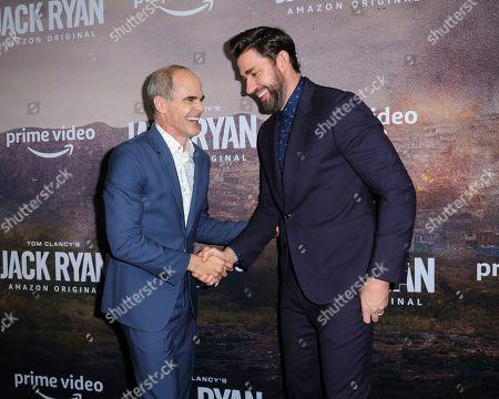 "Michael Kelly, left, and John Krasinski attend the premiere of Amazon Prime's ""Tom Clancy's Jack Ryan"" season two at Metrograph, in New York"
