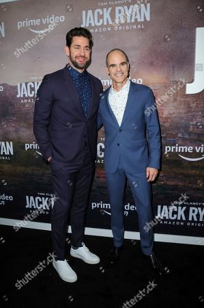 "John Krasinski, left, and Michael Kelly attend the premiere of Amazon Prime's ""Tom Clancy's Jack Ryan"" season two at Metrograph, in New York"