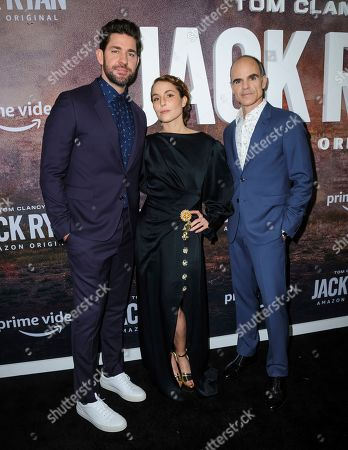"""John Krasinski, from left, Noomi Rapace, and Michael Kelly attend the premiere of Amazon Prime's """"Tom Clancy's Jack Ryan"""" season two at Metrograph, in New York"""
