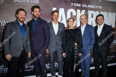 "John Hoogenakker, from left, John Krasinski, Tom Wlaschiha, Noomi Rapace, Michael Kelly, and Allan Hawco attend the premiere of Amazon Prime's ""Tom Clancy's Jack Ryan"" season two at Metrograph, in New York"