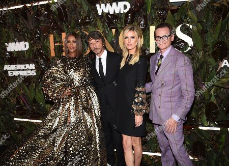 Iman, Pierpaolo Piccioli, Nicky Hilton Rothschild, Hamish Bowles. Model Iman, left, honoree Pierpaolo Piccioli, socialite Nicky Hilton Rothschild fashion editor Hamish Bowles pose together at the fourth annual Women's Wear Daily WWD Honors at the InterContinental Barclay, in New York