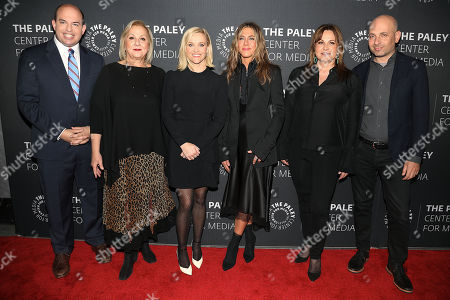 Brian Stelter, Mimi Leder (Exec. Producer), Reese Witherspoon, Jennifer Aniston, Kerry Ehrin (Exec. Producer) and Michael Ellenberg (Exec. Producer)