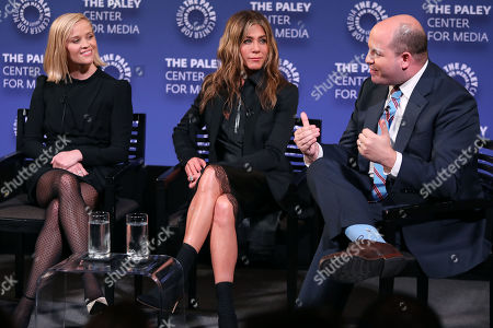 Reese Witherspoon, Jennifer Aniston and Brian Stelter