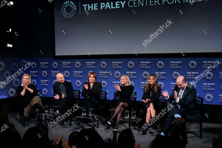 Stock Image of Mimi Leder, Michael Ellenberg, Kerry Ehrin (Exec. Producers), Reese Witherspoon, Jennifer Aniston and Brian Stelter