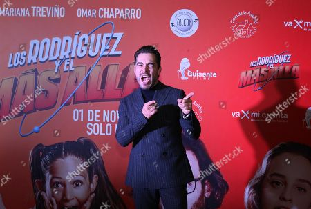 Omar Chaparro reacts on the red carpet during the movie premiere of 'Los Rodriguez y el Mas Alla' (The Rodriguez and the Far Side), in Mexico City, Mexico, 29 October 2019. The movie, produced in Spain, will open on 31 October 2019.