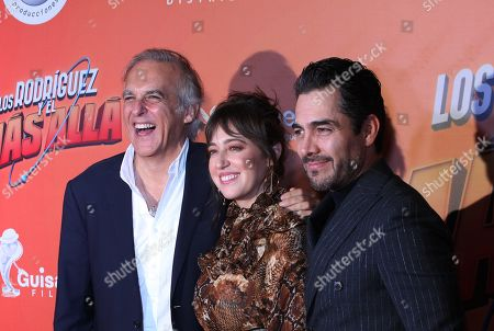 Stock Image of Mexican director Paco Arango (L), Mexican actress Mariana Trevino (C) and Mexican actor Omar Chaparro (R) pose on the red carpet during the movie premiere of 'Los Rodriguez y el Mas Alla' (The Rodriguez and the Far Side), in Mexico City, Mexico, 29 October 2019. The movie, produced in Spain, will open on 31 October 2019.