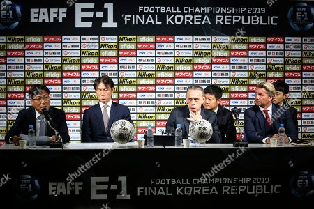 Park Yong Soo, Hong Myung-bo, Paulo Bento, Colin Bell. East Asian Football Federation (EAFF) General Secretary Park Yong Soo, left, speaks during a press conference as Korea Football Association General Secretary Hong Myung-bo, second from left, South Korean men's national football team head coach Paulo Bento, third from left, and South Korean women's football team head coach Colin Bell listen, in Seoul, South Korea, . North Korea won't send its women's soccer team to a regional competition in South Korea in December amid strained ties between the two countries
