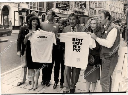 Editorial image of Demonstrations 1984 The Association Of Independent Film Producers Launch Major Campaign Today For Greater Government Support In The British Film Industry At The New Shaftesbury Club. Frankie Howerd Tim Pigot-smith Phyllis Logan Carol Drinkwater And C