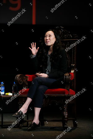 """Angela Kang, executive producer for The Walking Dead, shares behind the scenes insights on creating the modern horror series during the membership event, """"Hollywood Horror: Scaring Up an Audience for Television,"""" at the Wolf Theatre at the Saban Media Center at the Television Academy, in Los Angeles"""