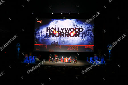 "Chris Hardwick, Ryan Hurst, Cary Elwes, Pollyanna McIntosh, Jake Busey, Angela Kang. From left to right, Chris Hardwick, Ryan Hurst, Cary Elwes, Pollyanna McIntosh, Jake Busey and Angela Kang participate in the membership event, ""Hollywood Horror: Scaring Up an Audience for Television,"" at the Wolf Theatre at the Saban Media Center at the Television Academy, in Los Angeles"
