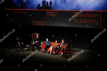 """Chris Hardwick, Ryan Hurst, Cary Elwes, Pollyanna McIntosh, Jake Busey, Angela Kang. From left to right, Chris Hardwick, Ryan Hurst, Cary Elwes, Pollyanna McIntosh, Jake Busey and Angela Kang participate in the membership event, """"Hollywood Horror: Scaring Up an Audience for Television,"""" at the Wolf Theatre at the Saban Media Center at the Television Academy, in Los Angeles"""