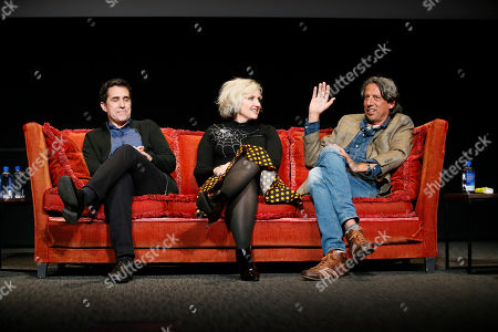 """Mac Quayle, Eryn Krueger MeKash, Paul Graff. From left to right, Mac Quayle, composer for """"American Horror Story"""", Eryn Krueger MeKash, producer/makeup artist for """"American Horror Story"""", and Paul Graff, senior supervisor visual effects for """"Stranger Things"""" participate in the membership event, """"Hollywood Horror: Scaring Up an Audience for Television,"""" at the Wolf Theatre at the Saban Media Center at the Television Academy, in Los Angeles"""