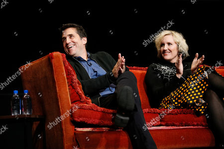 """Mac Quayle, Eryn Krueger MeKash. Mac Quayle, composer for """"American Horror Story"""" and Eryn Krueger MeKash, producer/makeup artist for """"American Horror Story"""", participate in the membership event, """"Hollywood Horror: Scaring Up an Audience for Television,"""" at the Wolf Theatre at the Saban Media Center at the Television Academy, in Los Angeles"""