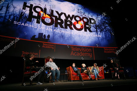 """Chris Hardwick, Dean Zimmerman, Mac Quayle, Eryn Krueger MeKash, Paul Graff, Angela Kang. From left to right, Chris Hardwick, Dean Zimmerman, Mac Quayle, Eryn Krueger MeKash, Paul Graff, and Angela Kang participate in the membership event, """"Hollywood Horror: Scaring Up an Audience for Television,"""" at the Wolf Theatre at the Saban Media Center at the Television Academy, in Los Angeles"""