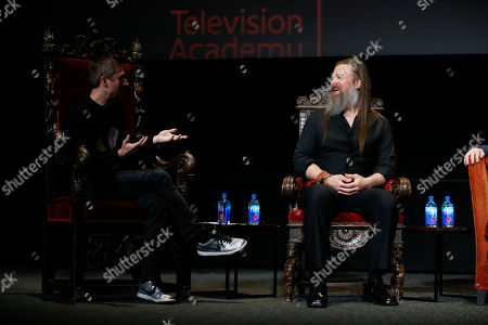 "Chris Hardwick, Ryan Hurst. Chris Hardwick hosts and moderates a special panel of actors, producers, visual effects professionals, editors and composers including Ryan Hurst, right, from ""The Walking Dead"" in the membership event, ""Hollywood Horror: Scaring Up an Audience for Television,"" at the Wolf Theatre at the Saban Media Center at the Television Academy, in Los Angeles"