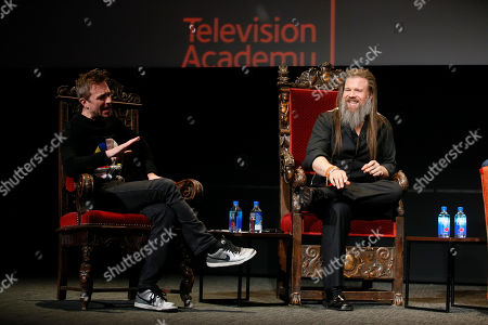 """Chris Hardwick, Ryan Hurst. Chris Hardwick hosts and moderates a special panel of actors, producers, visual effects professionals, editors and composers including Ryan Hurst, right, from """"The Walking Dead"""" in the membership event, """"Hollywood Horror: Scaring Up an Audience for Television,"""" at the Wolf Theatre at the Saban Media Center at the Television Academy, in Los Angeles"""