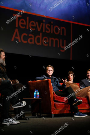 """Ryan Hurst, Cary Elwes, Pollyanna McIntosh. Ryan Hurst from """"The Walking Dead"""", Cary Elwes from """"Stranger Things"""" and Pollyanna McIntosh from """"The Walking Dead"""" participate in the membership event, """"Hollywood Horror: Scaring Up an Audience for Television,"""" at the Wolf Theatre at the Saban Media Center at the Television Academy, in Los Angeles"""