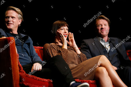 """Cary Elwes, Pollyanna McIntosh, Jake Busey. Cary Elwes from """"Stranger Things"""", Pollyanna McIntosh from """"The Walking Dead"""" and Jake Busey from """"Stranger Things"""" participate in the membership event, """"Hollywood Horror: Scaring Up an Audience for Television,"""" at the Wolf Theatre at the Saban Media Center at the Television Academy, in Los Angeles"""