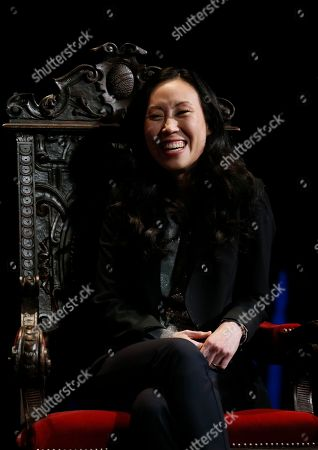 "Angela Kang, executive producer for The Walking Dead, shares behind the scenes insights on creating the modern horror series during the membership event, ""Hollywood Horror: Scaring Up an Audience for Television,"" at the Wolf Theatre at the Saban Media Center at the Television Academy, in Los Angeles"