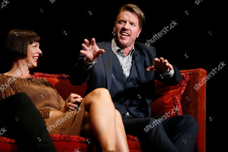 """Pollyanna McIntosh, Jake Busey. Pollyanna McIntosh from """"The Walking Dead"""" and Jake Busey from """"Stranger Things"""" participate in the membership event, """"Hollywood Horror: Scaring Up an Audience for Television,"""" at the Wolf Theatre at the Saban Media Center at the Television Academy, in Los Angeles"""