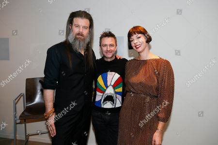 """Stock Image of Ryan Hurst, Chris Hardwick, Pollyanna McIntosh. From left to right, Ryan Hurst from """"The Walking Dead"""", host and moderater Chris Hardwick, and Pollyanna McIntosh from """"The Walking Dead"""" pose in the green room at the membership event, """"Hollywood Horror: Scaring Up an Audience for Television,"""" at the Wolf Theatre at the Saban Media Center at the Television Academy, in Los Angeles"""