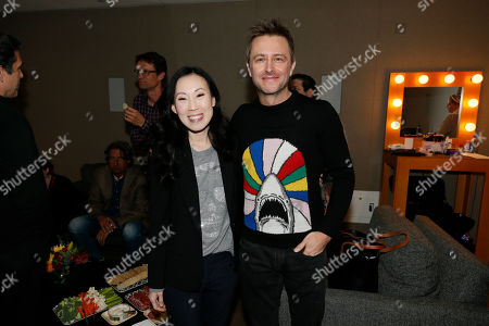 "Angela Kang, Chris Hardwick. Angela Kang, left, executive producer for ""The Walking Dead"" and host and moderater Chris Hardwick pose in the green room at the membership event, ""Hollywood Horror: Scaring Up an Audience for Television,"" at the Wolf Theatre at the Saban Media Center at the Television Academy, in Los Angeles"