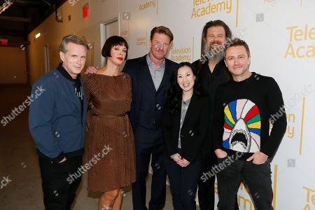 "Stock Image of Cary Elwes, Pollyanna McIntosh, Jake Busey, Angela Kang, Ryan Hurst and Chris Hardwick pose at the membership event, ""Hollywood Horror: Scaring Up an Audience for Television,"" at the Wolf Theatre at the Saban Media Center at the Television Academy, in Los Angeles"