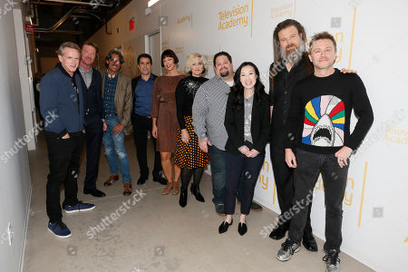 "Cary Elwes, Jake Busey, Paul Graff, Mac Quayle, Pollyanna McIntosh, Eryn Krueger MeKash, Dean Zimmerman, Angela Kang Ryan Hurst, Chris Hardwick. From left to right, Cary Elwes, Jake Busey, Paul Graff, Mac Quayle, Pollyanna McIntosh, Eryn Krueger MeKash, Dean Zimmerman, Angela Kang Ryan Hurst and Chris Hardwick pose together at the membership event, ""Hollywood Horror: Scaring Up an Audience for Television,"" at the Wolf Theatre at the Saban Media Center at the Television Academy, in Los Angeles"