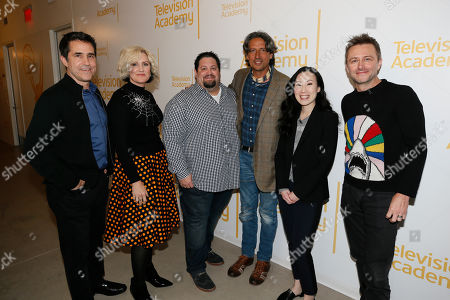 """Mac Quayle, Eryn Krueger MeKash, Dean Zimmerman, Paul Graff, Angela Kang and Chris Hardwick pose together at the membership event, """"Hollywood Horror: Scaring Up an Audience for Television,"""" at the Wolf Theatre at the Saban Media Center at the Television Academy, in Los Angeles"""