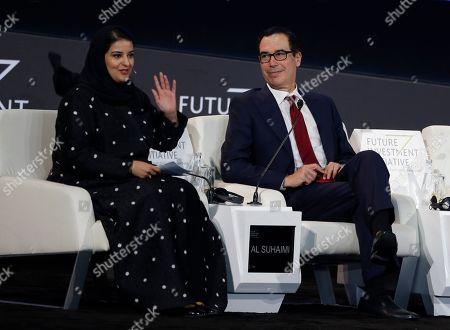 Sarah Al-Suhaimi, chair of the Saudi Arabia stock exchange, greets participants before her interview with U.S. Treasury Secretary Steven Mnuchin during his speech at the Future Investment Initiative forum in Riyadh, Saudi Arabia