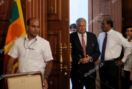 Sri Lankan Prime Minister Ranil Wickremesinghe arrives for a meeting with media representatives and civil society members at his office in Colombo, Sri Lanka