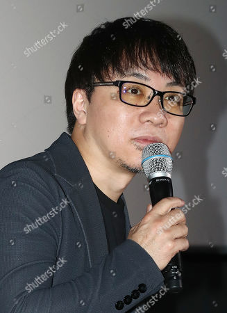 Japanese animator Makoto Shinkai speaks during a news conference on his latest work, 'Weathering With You,' at a Seoul theater in Seoul, South Korea, 30 October 2019. The film was released in South Korea on the same day.